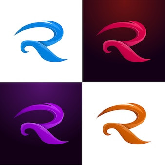 Letter r colorful set