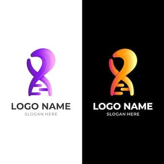 文字rdnaロゴ、文字rとdna、3d紫とオレンジ色のスタイルの組み合わせロゴ
