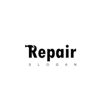 Letter r hammer logo for repairing