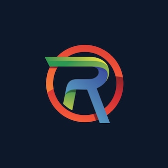 円のロゴテンプレートの文字r