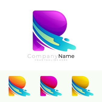 Буква r логотип и галочка дизайн вектор, красочный стиль