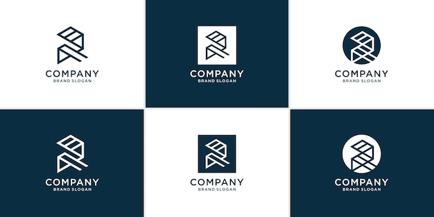 Letter r logo collection with creative modern style premium vector