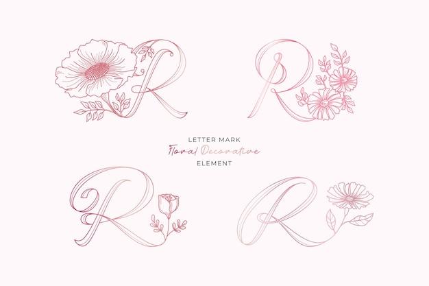 文字rロゴ装飾要素セット