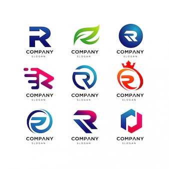 Letter r logo design template collection, modern r logo