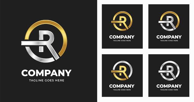 원형 모양 스타일로 편지 r 로고 디자인 서식 파일
