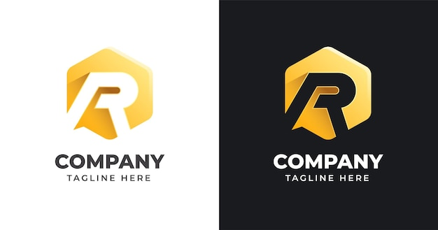 Letter r logo design template with geometric shape style