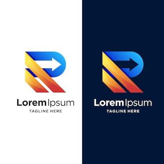 Letter r logo design with arrow concept