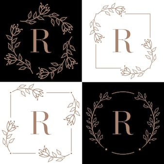 蘭の葉の要素と文字rのロゴのデザイン