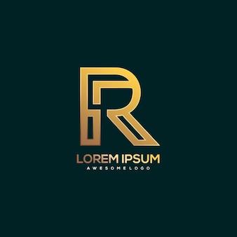 Letter r logo luxury gold color illustration