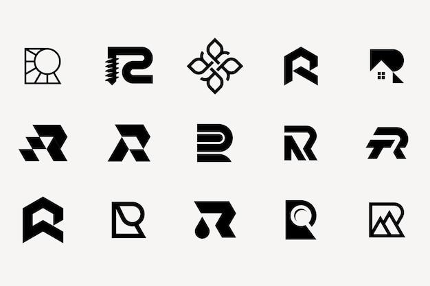 Letter r logo typeset vector