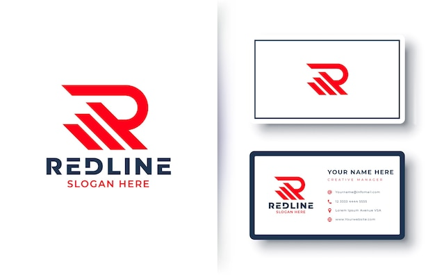 Letter r logo with business card