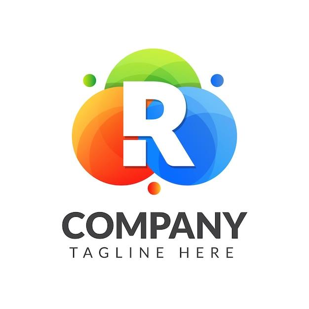 クリエイティブ産業、ウェブ、ビジネス、会社のためのカラフルな円の背景を持つ文字rロゴ