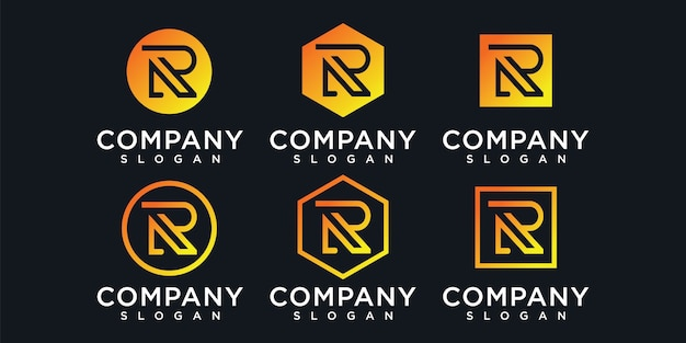 Letter r logo with concept for consulting initial finance company
