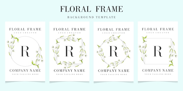 Letter r logo with floral frame background template