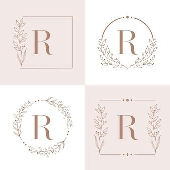 花のフレームの背景テンプレートと文字rのロゴ