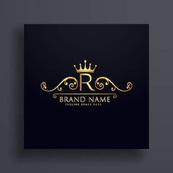 Letter r logo with golden crown and floral decoration
