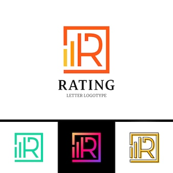 Letter r logotype with rate top line