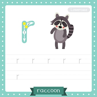 Letter r lowercase tracing practice worksheet. standing raccoon
