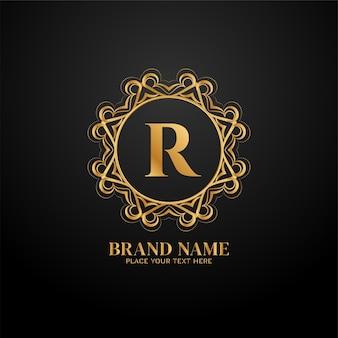 Lettera r logo del marchio di lusso