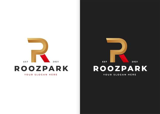 文字rの豪華なロゴデザインテンプレート。ベクトルイラスト