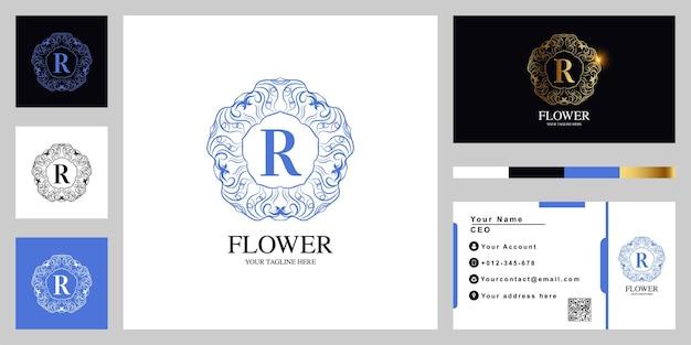 Letter r luxury ornament flower or mandala frame logo template design with business card.