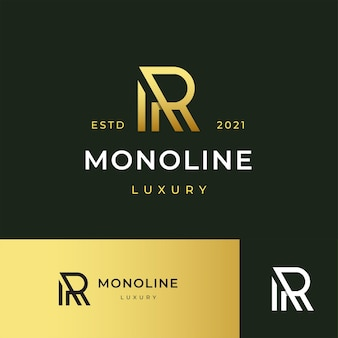 Letter r modern logo icon illustration line stripes style