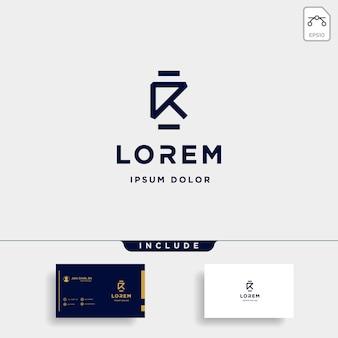 블랙 색상으로 편지 r 모노그램 로고 디자인 최소한의 아이콘