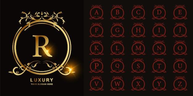 文字rまたは豪華な飾り花フレームゴールデンロゴテンプレートとコレクションの最初のアルファベット。