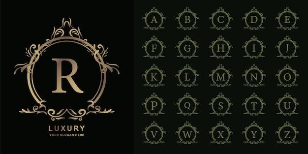 편지 r 또는 고급 장식 꽃 프레임 황금 로고 템플릿이 있는 컬렉션 초기 알파벳입니다.