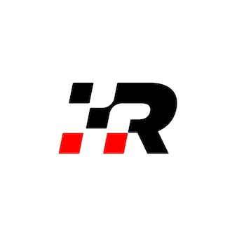 手紙rレース旗のロゴデザインベクトル