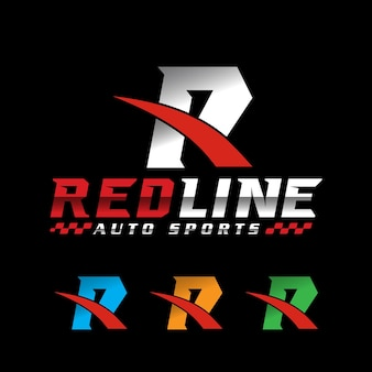 Буква r гоночный логотип спорт логотип вектор