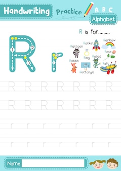 Rの大文字と小文字のトレース練習ワークシート