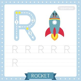 Letter r uppercase tracing practice worksheet. rocket
