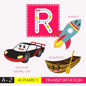 Letter r uppercase tracing transportations vocabulary
