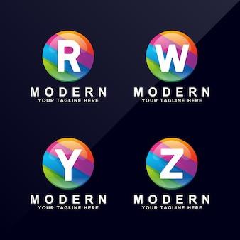 Letter R, W, Y, Z colorful logo design.
