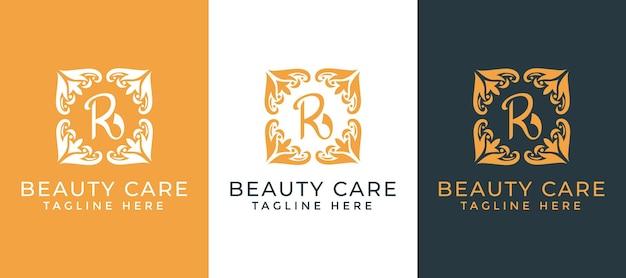 美容とケアビジネス業界のための曼荼羅装飾ロゴデザインテンプレートと文字r