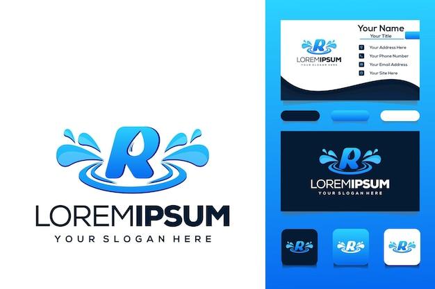 Буква r с каплей воды дизайн логотипа автобус визитная карточка