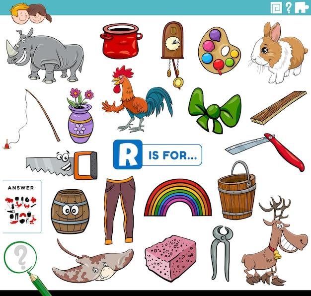 Letter r words educational task