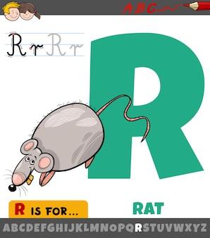 Letter r worksheet with cartoon rat