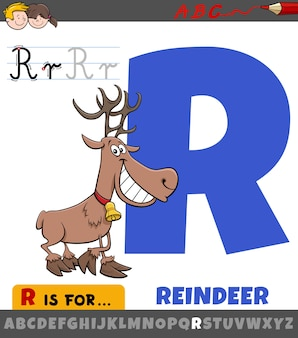Letter r worksheet with cartoon reindeer animal character