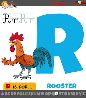 Letter r worksheet with cartoon rooster
