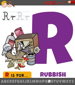 Letter r worksheet with cartoon rubbish