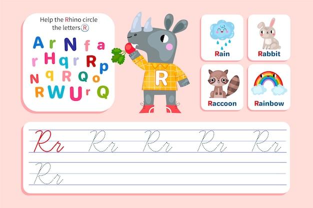 Foglio di lavoro lettera r con rinoceronte