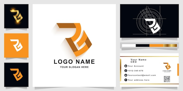 Letter a or rg monogram logo template with business card design
