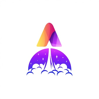 Letter a rocket logo design illustration
