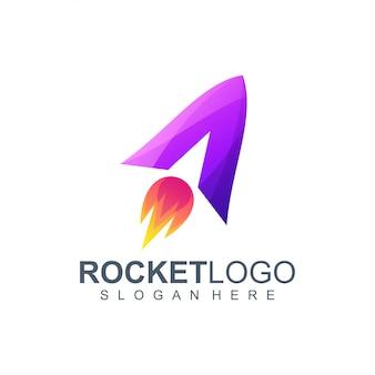 Letter a rocket logo design illustration