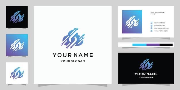 편지 s와 클라우드 기술, 클라우드 데이터, 로고 및 명함 템플릿