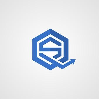 文字sとqのロゴ。ロゴタイプテンプレート。