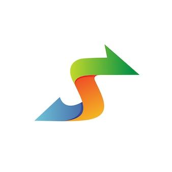 Letter s arrow logo vector