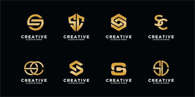Концепция логотипа бренда letter s в золотом стиле бесплатные векторы
